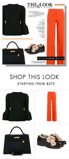"""Orange in the Office"" by aidasusisilva ❤ liked on Polyvore featuring Carolina Herrera, Diane Von Furstenberg, Hermès and Pokemaoke"