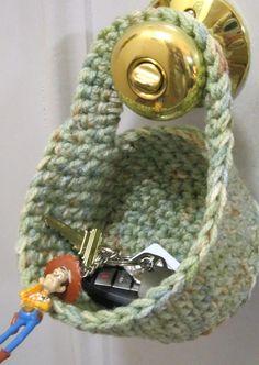 Doorknob Basket Crochet Basket for Keys by crochetedbycharlene