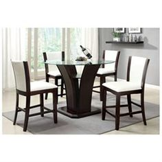 Manhattan Evil Cherry Finish 5-Piece Round Glass Top Ivory White Counter Height Dining Table Set