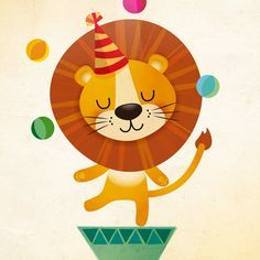 Circus Lion art print nursery illustration by IreneGoughPrints