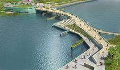 providence river pedestrian and cyclist bridge competition winner . inFORM studio