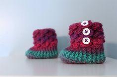 Rainbow Booties, Crochet Crocodile 6-12 Month Baby Girl Slipper Booties, Ready To Ship