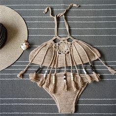 Retro Beach Womens Swimsuit 2017 New Knitted Tankini Brazil Ladies Woven Tassel Bikinis Swimwear Bathing Suits Push Up Bikinis
