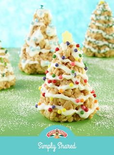 Add melted marshmallows, crisp rice cereal, cookie butter and a little holiday magic to get these mini Christmas trees ready for the holidays. Get this recipe by tapping the link in our bio. Noel Christmas, Christmas Goodies, Christmas Candy, Christmas Desserts, Holiday Treats, Christmas Treats, Holiday Recipes, Christmas Recipes, Fun Recipes