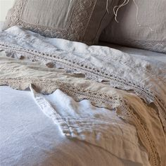 Bella Notte Flat Sheet Linen with Crochet Lace Trim. I have wanted linen sheets for years.