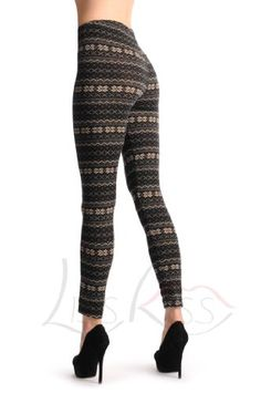 Black With Small Snowflakes Aztec Jacquard Knit - Black Printed Geometrical Opaque Leggings for only $17.99