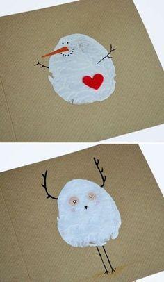 bastelideen rot herz weihnachten schneemann
