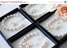 30% OFF Sale 7 Bridesmaids gifts-Pearl Jewelry sets with Bracelet and Earrings (15 COLORS Available) on Etsy, $88.73 AUD