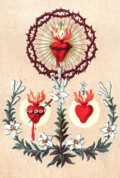 Vintage illustration: The Sacred Hearts of Jesus, Mary and Joseph