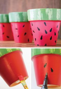 coole DIY Blumentöpfe - # Check more at cool DIY flower pots - # check Kids Crafts, Summer Crafts, Cute Crafts, Craft Projects, Kids Diy, Flower Pot Crafts, Clay Pot Crafts, Shell Crafts, Painted Flower Pots