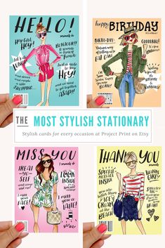 Fashion Cards Thank You Print Gift Hello
