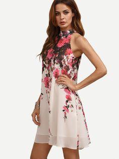 Vestido floral corte sin manga holgado -multicolor-Spanish SheIn(Sheinside)