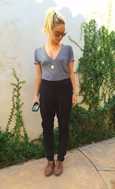 Black Harem Pants + Brown Oxfords + Tucked-In Solid Tee