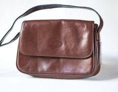 Brown Leather Small Cross Body Bag  Vintage Women's Bag by 4Rooms