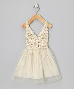 Sweet Chics Couture Cream Tulle Crocheted Dress - Toddler & Girls by Sweet Chics Couture #zulily #zulilyfinds