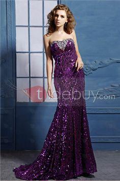 Glamoroso Vestido de Noche Largo al Piso sin Tirantes (Envío Gratuito)