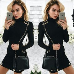 US Women Sexy Black Bodycon Long Sleeve Casual Party Cocktail Evening Mini Dress   Clothing, Shoes & Accessories, Women's Clothing, Dresses   eBay!