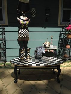 Whimsical French Country Black and White Check Coffee Cocktail Table Free Shipping
