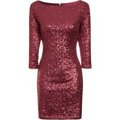 True Decadence Bodycon Sequin Midi Dress ($37) ❤ liked on Polyvore featuring dresses, burgundy, clearance, short red dress, red cocktail dress, red bodycon dress, holiday party dresses and sparkly cocktail dresses