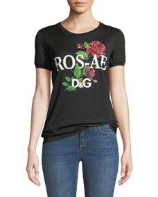a35ee723b9a Dolce   Gabbana Rosale D G Rose-Print Cotton Jersey T-Shirt