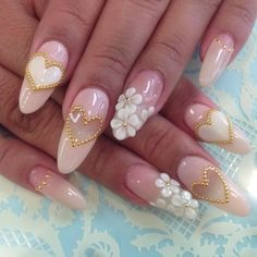3d Nail Art Design Ideas - this is a beautiful pick design. Wedding worthy.