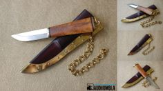 Small women fibula knife.  Masur Birch handle, lauri carbon blade. Brass fittings and chain suspension for attachment to fibula.