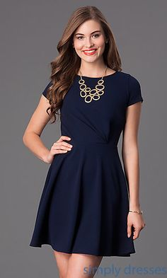 Short Cap Sleeve A-Line Dress at SimplyDresses.com