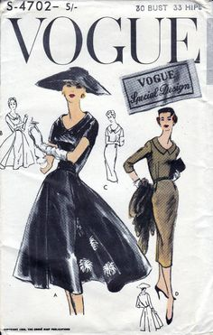50s Vogue special design S-4702, dress sewing patterns, bust 30 inches, factory folded, unused.  One piece dress and reversible overskirt: Slim two piece