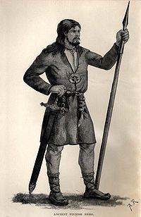 Hautalöytöihin perustuva piirros rautakauden suomalaisesta aseineen. Kuvitusta Kalevalan englanninkieliseen käännökseen vuodelta 1888.