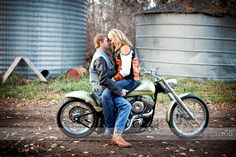 Engagement photo with motorcycle