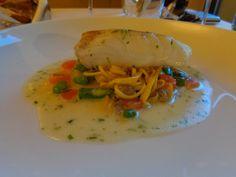 Atlantic wild cod, saffron spaghetti, vongole, fava beans and chervil @ Restaurace Bellevue Spaghetti Vongole, Fava Beans, Prague, Cod, Risotto, Ethnic Recipes, Cod Fish, Atlantic Cod
