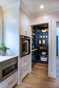 pantry shelving Kitchen pantry The combination of open shelves and drawers come handy and keep everything organized Paint color is Old Navy by Benjamin Moore Kitchen Pantry Cupboard, Small Kitchen Pantry, Free Standing Kitchen Pantry, Open Pantry, Kitchen Pantry Design, Kitchen Storage, New Kitchen, Kitchen Dining, Kitchen Decor