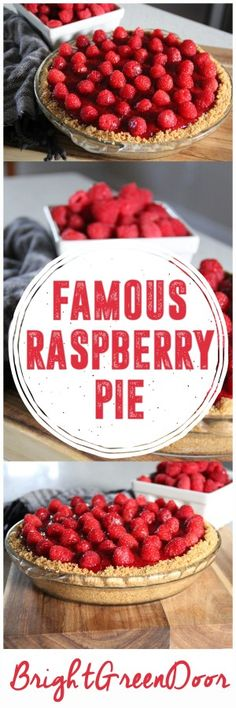 Grandma's Famous Raspberry Pie,  A Raspberry Pie with a Graham Cracker Crust and a Cream Layer #WayfairPieBakeOff www.BrightGreenDoor.com