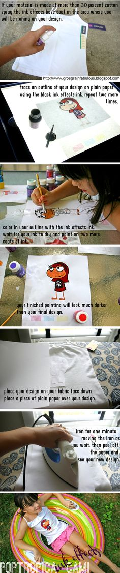 DecoArts Ink Effects Picture Tutorial drawing a Poptropica avatar.