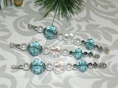 Aqua Blue and Silver Icicle Ornaments  bead by CJKingOriginals, $11.00