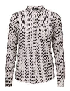 DAY - Day Tamadot-DAY Tamadot is made in a lovely silk and cotton-blend. The shirt features long sleeves and is tailored in a classic fit, suitable for anyone. The shirt has a dotted design and is perfect as office wear. Layer yours with a cool knit for a casual yet chic look.  Front button placket Piped trim Polka dot pattern Back pleat Point collar Chic Classic Feminine Inverted pleats Point Collar, Office Wear, Front Button, Polka Dots, Feminine, Shirt Dress, Silk, Chic, Day