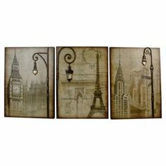 "3 pieces of wall decor depicting metropolitan landmarks.    Product: 3-Piece wall decor setConstruction Material: MDFDimensions: 24"" H x 18"" W each"