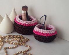 Cestos de crochê em malha - 2 peças