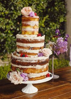 Romantic  naked cake by Sugar Bee Sweets. Styled shoot by Events by Hala. Photo by John Christopher Photographs. #wedding #cake #nakedcake