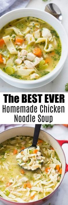 The best homemade chicken noodle soup you'll ever make! Homemade chicken broth and optional homemade egg noodles. Surprisingly simple and completely amazing. This is our family's favorite soup recipe! | tastesbetterfromscratch.com via @betrfromscratch