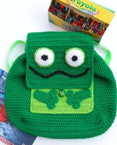 Crochet frog backpack/ Lined frog backpack