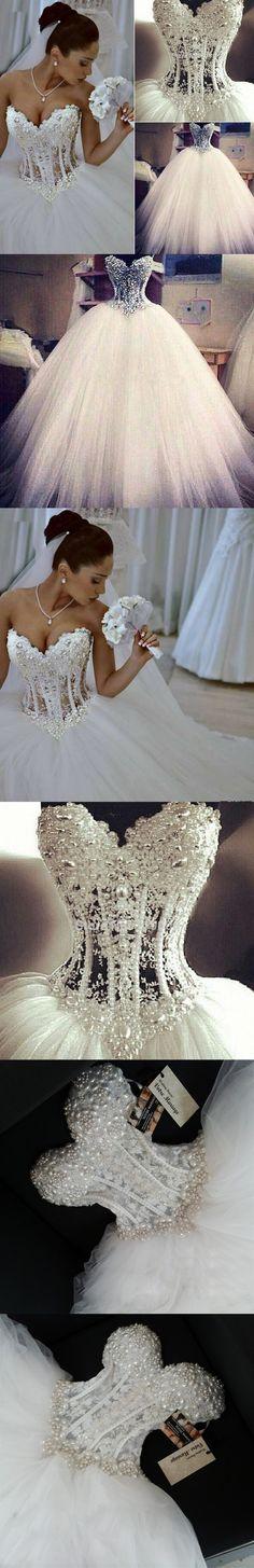 Sexy New Sheer Bodice Wedding Dresses 2016 White Pearls Bridal Dress Wedding Gown Vestido de noiva Custom Size W132 $228