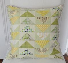 Flying Geese PTS#9 (Cottilello) Tags: green yellow modern flying geese colours hand linen text pillow ow quilted cushion fabrics volume