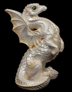 Rising Spectral Dragon - White -A perfect guard to a happy marriage; this large majestic dragon would make a gorgeous centerpiece at a wedding. Pink Dragon, Dragon Egg, White Dragon, My Fantasy World, Fantasy Art, Fantasy Creatures, Mythical Creatures, Dragon Figurines, Love Fairy