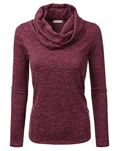 Doublju Cowl Neck Heather Knit Sweater Top Women Plus Size (Made in USA) at b006b319b
