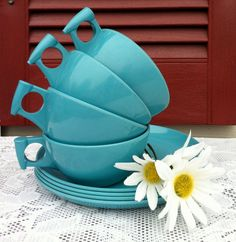 Turquoise Vintage Melamine Cups & Saucers/ by RepurposedTreasure4U, $12.50