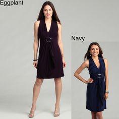 Ahhh Love this!!    Scarlett Women's Navy Ruffle Front Jersey Knit Dress   Overstock.com