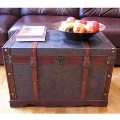 These Sienna chest boxes are all handcrafted and tailored to enhance the existing decor of any room in the home. These large trunks are also trimmed in faux leather and provide ample storage space.