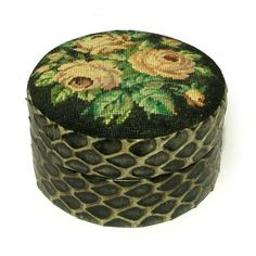 Vintage 1930s Snakeskin Needlepoint Trinket Box Tapestry Embroidery Round Mirror Rose Floral Curio
