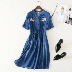 >> Click to Buy << floral embroidery Drawstring elastic waist v-neck short sleeve denim dress  women   #Affiliate
